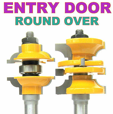 """2 pc 1/2"""" SH Entry & Interior Door Round Over Matched R&S Router Bit Set"""