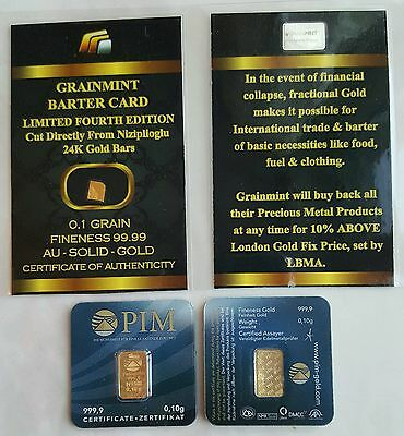 LOT OF INGOTS PURE GOLD 24K WITH CERTIFIED PIM 0,1grams AND GRAINMINT 0,1grain