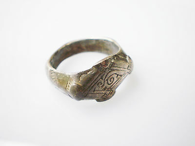 Superb ANCIENT RARE Viking Silver FINGER RING  Signet  ca 8 - 10 century AD #2