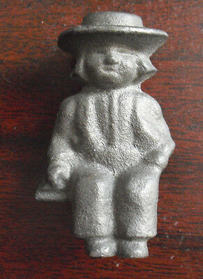 "Vintage Small Cast Iron Sitting Amish Man Figurine 2 1/8"" Tall"