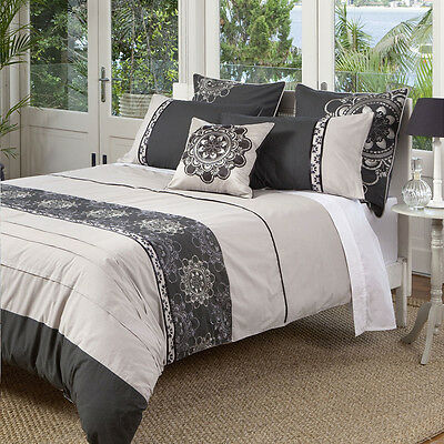 KAS Baroque Opulent Charcoal Taupe Grey Queen King Quilt Duvet Bedding Euro Set