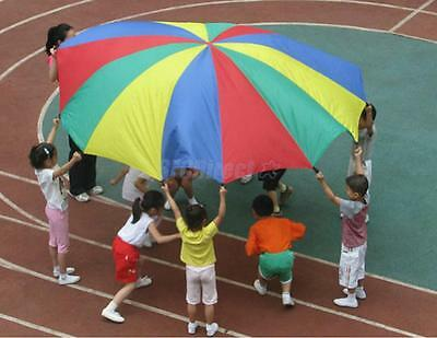 Multi-Coloured 2M Kids Play Party Outdoor Game Activity Parachute 8 Handles