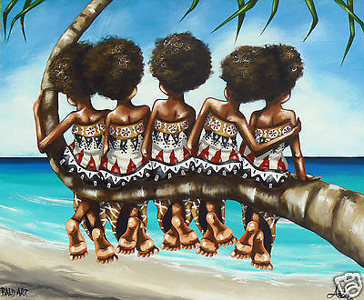 """Fiji island palm tree art print poster for glass frame 36"""" By Andy Baker signed"""