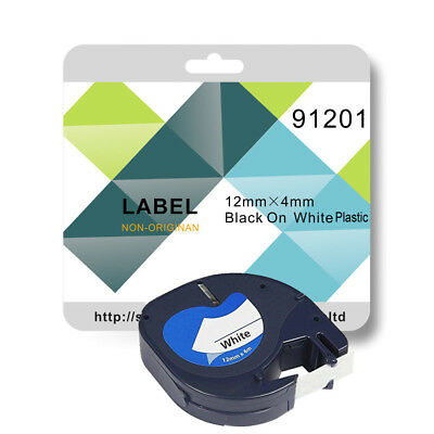 1 Compatible label tape for 91201 12mm x 4m Black On White