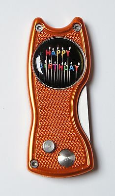 Pitchfix Classic, orange, aufklappbare Pitchgabel mit Ballmarker HAPPY BIRTHDAY