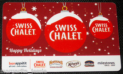 Swiss Chalet Canada Gift Card Happy Holidays Ornaments Snowflakes No Value New