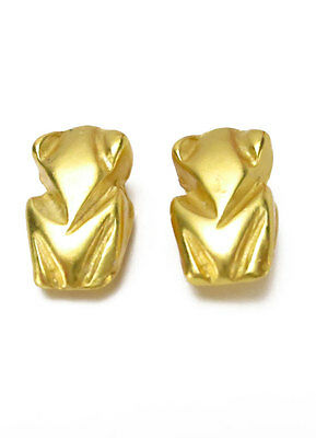 ACROSS THE PUDDLE 24k Gold Plated Pre-Columbian Stylized Frog Charm Earrings