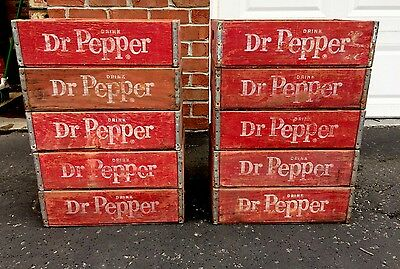 10 Vintage 1970's Dr. Pepper Wood Soda Pop Case Crates Lot