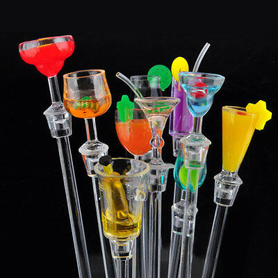 New Set of 10 Plastic Cocktail Drink Stirrers Swizzle Sticks Party Bar Tool C