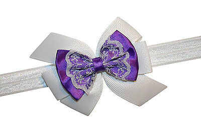 New Baby Girls Vintage Satin & Lace GrosGrain Hair Bow Infant Stretch Headband