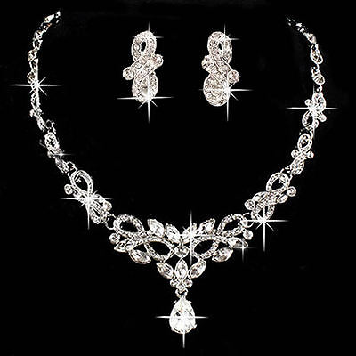 Graceful Bridal Wedding Party Crystal Rhinestone Necklace Earring Jewelry Sets