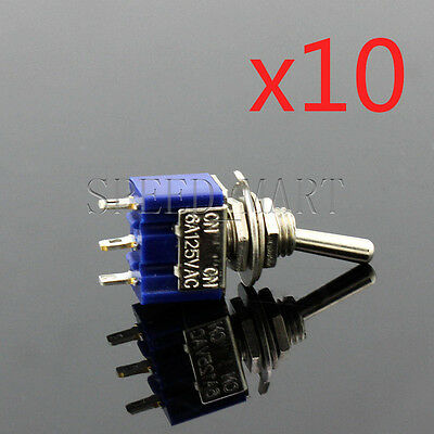 10 PCS Mini Slide Toggle Switch Switches 6A 125VAC 3 Pins SPDT ON-OFF-ON MTS-103