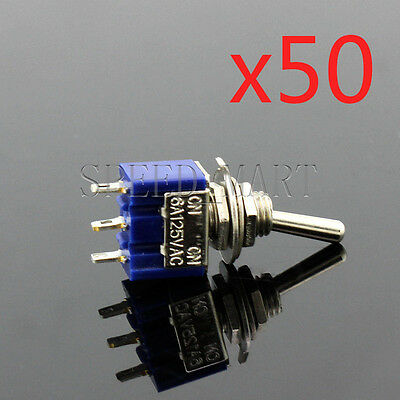 50 PCS Mini Slide Toggle Switch Switches 6A 125VAC 3 Pins SPDT ON-OFF-ON MTS-103