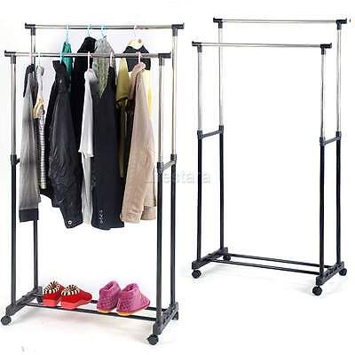 Adjustable Double Clothes Hanging Rail Garment Stand Rolling Rack Heavy Duty