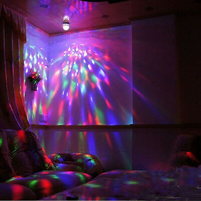 3W E27 Auto Rotating LED RGB Stage Light Full Color Crystal Magic DJ Party Bulb