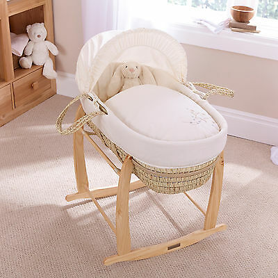 New Clair De Lune Starburst Cream Palm Baby Moses Basket & Natural Rocking Stand