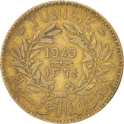 [#91480] TUNISIA, 2 Francs, 1945, Paris, KM #248, VF(30-35), Aluminum-Bronze