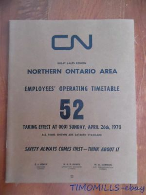 1970 Canadian National Railways Employee Timetable 52 Great Lakes Region