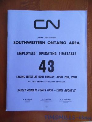 1970 Canadian National Railways Employee Timetable 43 Great Lakes Region