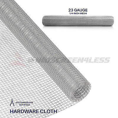 "Galvanized Hardware Cloth Wire Metal Mesh Fencing 23 Gauge 1/4"" Hole 24"" 36"" 48"""