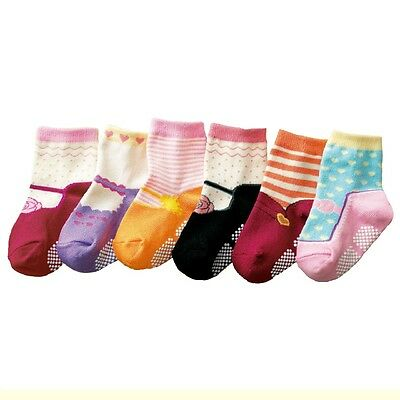 Baby Toddler Kid Girl 6-Pack Chic Anti-slip Ankle Socks Mary Jane Age 1 2