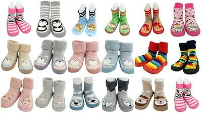 Baby Kids Boy Girl Funky Moccasins Non Slip Indoor Slippers Socks Age 0-6 1 2 3