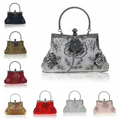Ladies' Beading Sequined Handbag Clutch Party Bridal Evening Bag Hand Purse Make