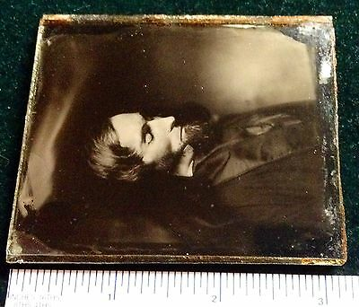 ABE LINCOLN? EARLY 1865 POST MORTEM 1/6th AMBROTYPE RARE ONE OF A KIND IMAGE
