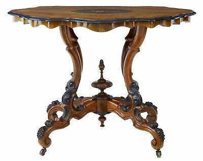 19Th Century High Victorian Inlaid Walnut Center Table