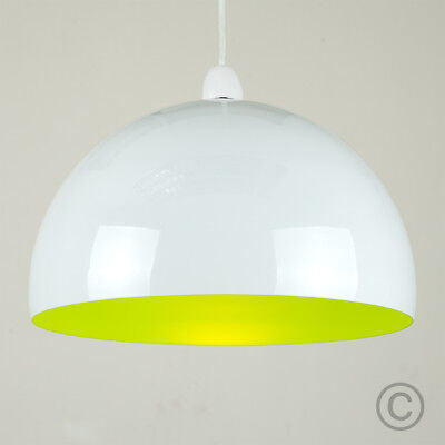 Contemporary Gloss White & Green Round Dome Ceiling Light Lamp Shade Lampshade