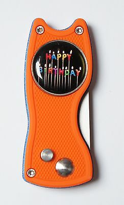 Pitchfix Hybrid, orange/blau, aufklappbar + Golfball Marker HAPPY BIRTHDAY
