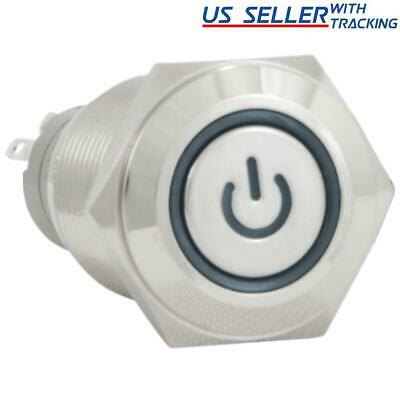 16mm 12V Latching Push Button Power Switch Stainless Steel Blue LED Waterproof