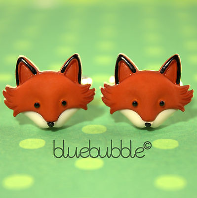 Funky Country Fox Face Cufflinks Wild Animal Fun Wedding Prom Novelty Dads Gift
