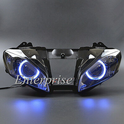 Projector Headlight Assembly Blue Angel eyes HID For Yamaha YZF R6 2008-2014 13