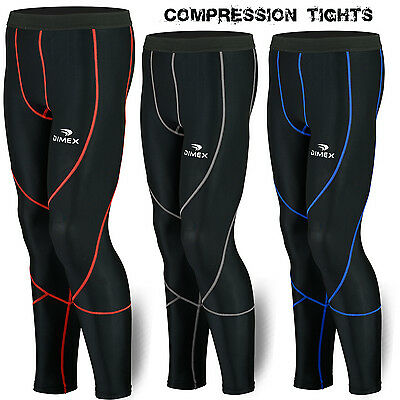 Mens Compression Tights LongPants Trousers Base Layer Running Black NEW