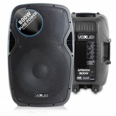 "COPPIA CASSE 1600W ATTIVE 15"" (woofer 38 cm) IN ABS FULL-RANGE professionali"