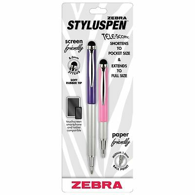 ZEBRA Ballpoint & Telescopic Stylus Pen - PINK & PURPLE - New - Medium Point