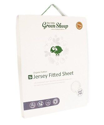 The Little Green Sheep 70 x 140 cm Organic Cot Bed Jersey Fitted Sheet, White