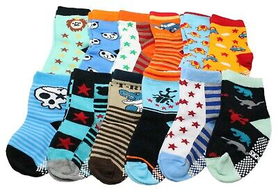 Pack of 12 Baby Boys Anti-slip Ankle Socks Age 6/9/12/18/24 Months Stars Stripes