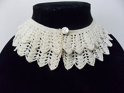 Vintage Crochet Double Layered Collar Ivory White