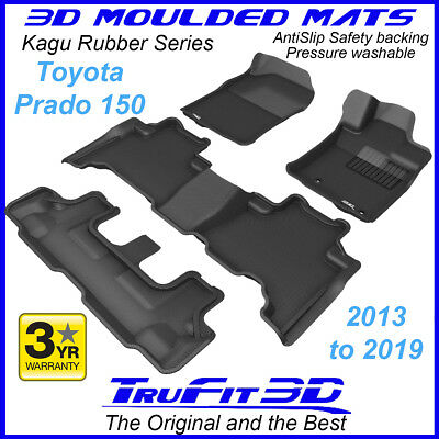 To suit Toyota Land Cruiser Prado 150 2013 - 2018 Black Rubber 3D Floor Mats