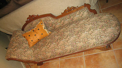 Antique Victorian Walnut Couch / Rose / Green / Multi  Floral Tapestry & Wood