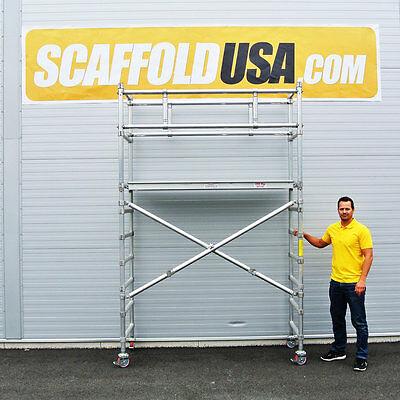 Scaffold USA 7 ft Folding Aluminum Scaffold Tower with guardrail