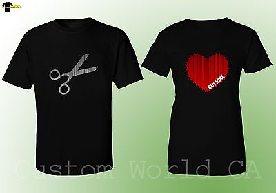 Couple T-Shirt - Scissors Cut Here Matching His and hers Love Shirts BLACK