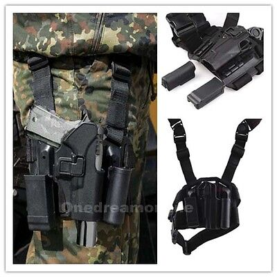 Quick-release Tactical Right Drop Leg Thigh Rig Holster With 2 Pouches For 1911