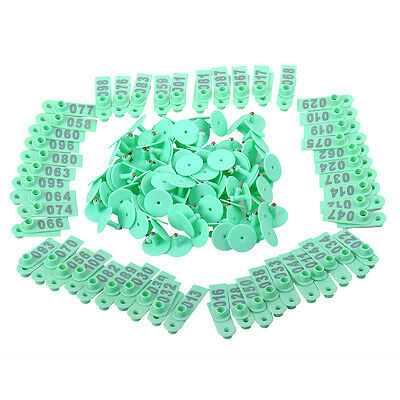 100x Livestock Green Marking Ear Tag With Number 1~100 For identify Sheep Goat