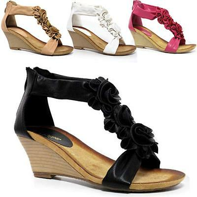 26c8528ace3 Ladies Wedge Sandals Womens Heels New Fancy Summer Dress Party Beach Shoes  Size