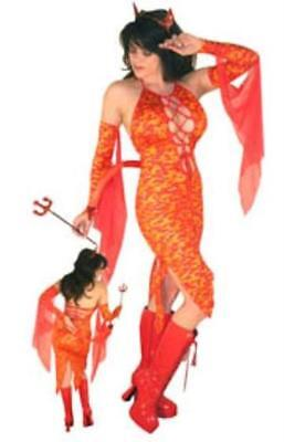 SS4U Sultry Devil Red Orange Flame Costume Dress Gloves Tail Horn Head Piece 1x