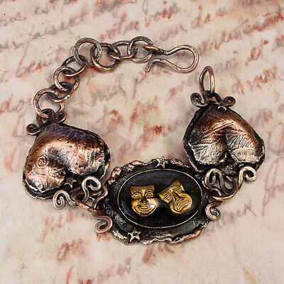 I LAUGHED I CRIED - OOAK Comedy Tragedy Copper Bracelet  With Vintage Intaglio