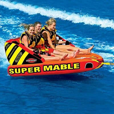 SportsStuff Super Mable Inflatable Water 1 - 3 Rider Tube Boat Towable 53-2223